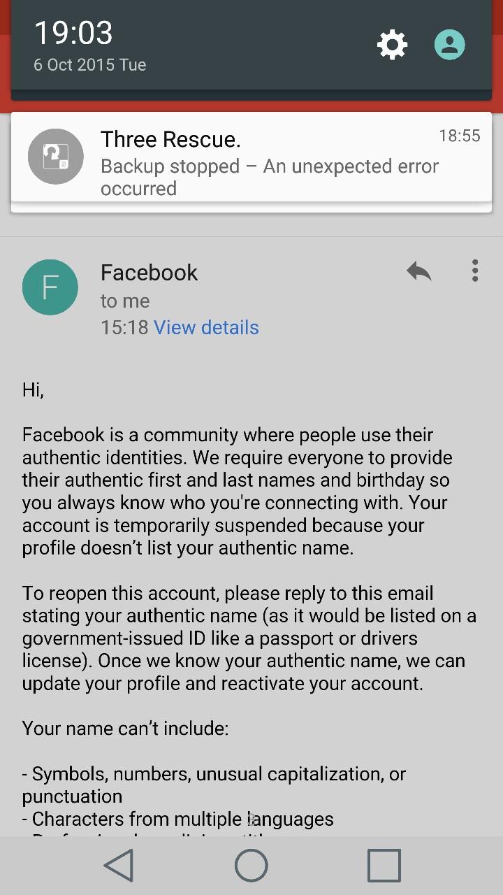 Uno de los correos enviados por Facebook tras cerrarle la cuenta