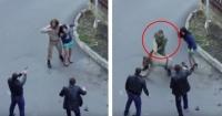 VIDEO: Militar pensó que había una mujer en peligro y arruinó la escena de una película