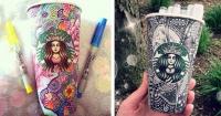 Artista convierte los vasos de Starbucks en las más hermosas obras de arte