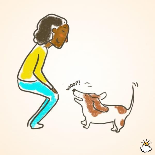 "Con la campana cerca, dile a tu perro que ""hable"" sin hacer sonar la campana. Cuando ladre, dale un premio. Repite esto muchas veces."