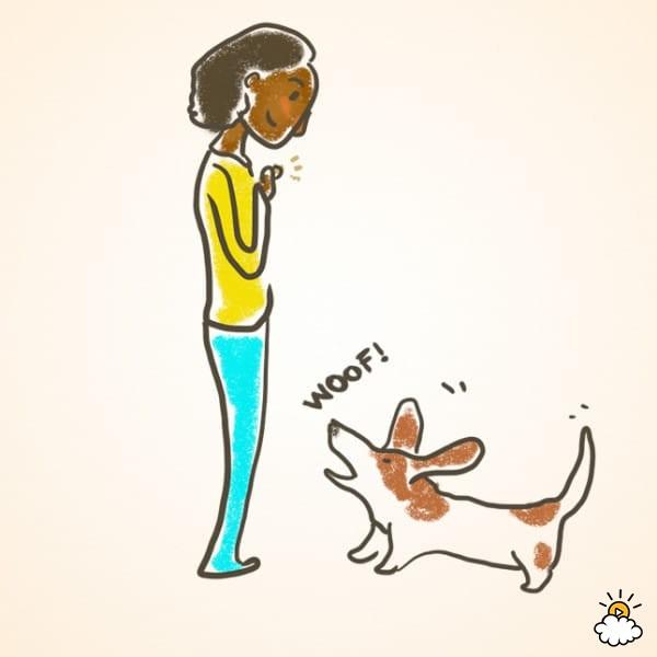 """Con la campana fuera de vista, dile a tu perro que """"hable"""". Cuando lo haga, dale un premio. Repítelo muchas veces, hasta que este manejado."""