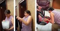 Abrió una bolsa de regalo y se enteró de que era abuela. ¡Su reacción es lo máximo!