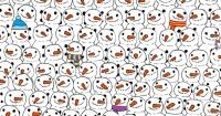 ¿Puedes encontrar al panda entre estos hombres de nieve?