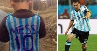 Este niño improvisó una camiseta de Messi e internet lo busca para regalarle una real