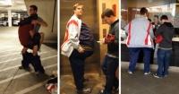 Estos amigos se disfrazaron de un hombre gigante para entrar al cine pagando una entrada