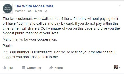 Dispute over an unpaid breakfast bill at the White Moose Cafe, DublinThreatening CCTV.jpg