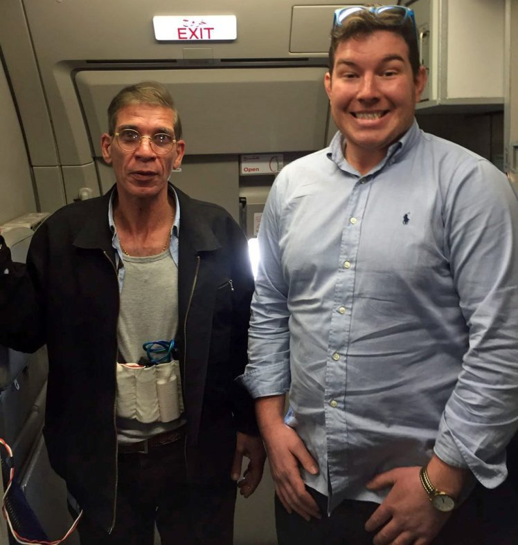 An Aberdeen man posed for a photo with a hijacker who used a fake suicide belt to take control of an Egyptian plane.  Oil and gas industry auditor Ben Innes, 26, took a picture with a man identified by Cypriot officials as Seif Eldin Mustafa.