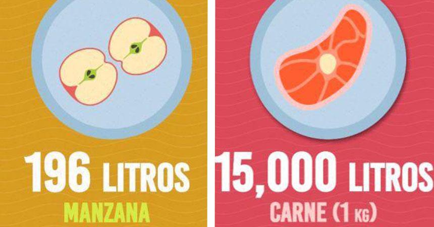 Cuántos litros de agua necesitan los alimentos que consumes?