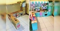 Mamá usó cajas de cartón para hacerle una increíble sala de juegos a su hija