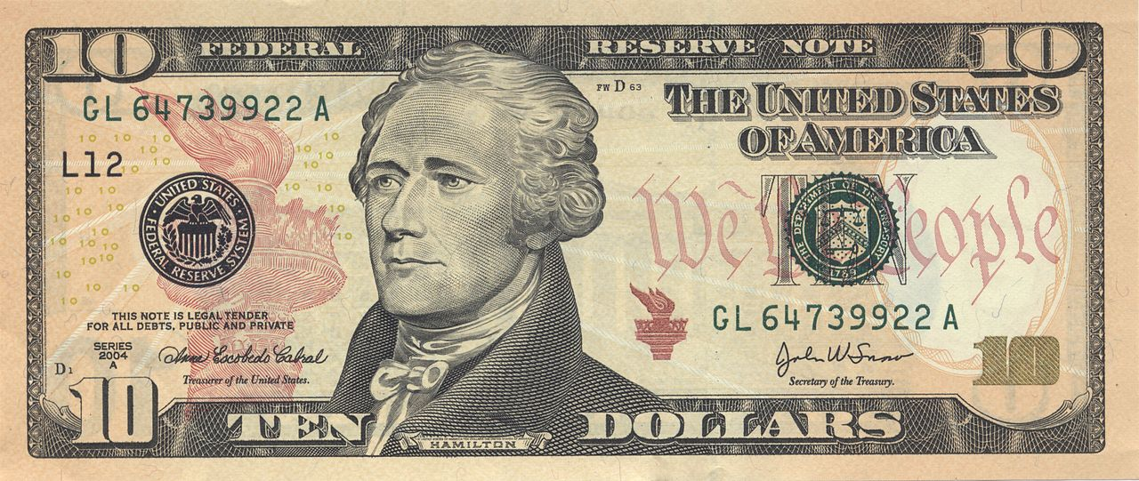 El billete de 10 dólares con Hamilton.