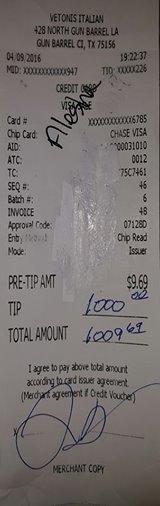 Esta es la factura con la gran propina.