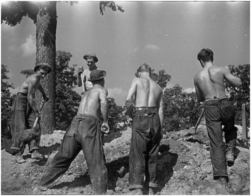 Mineros trabajando con jeans