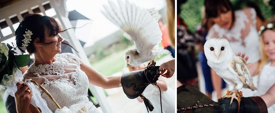 La boda incluyó a estas lindas lechuzas