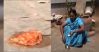 La ola de calor en India es tan grande que esta mujer cocinó un huevo en el piso