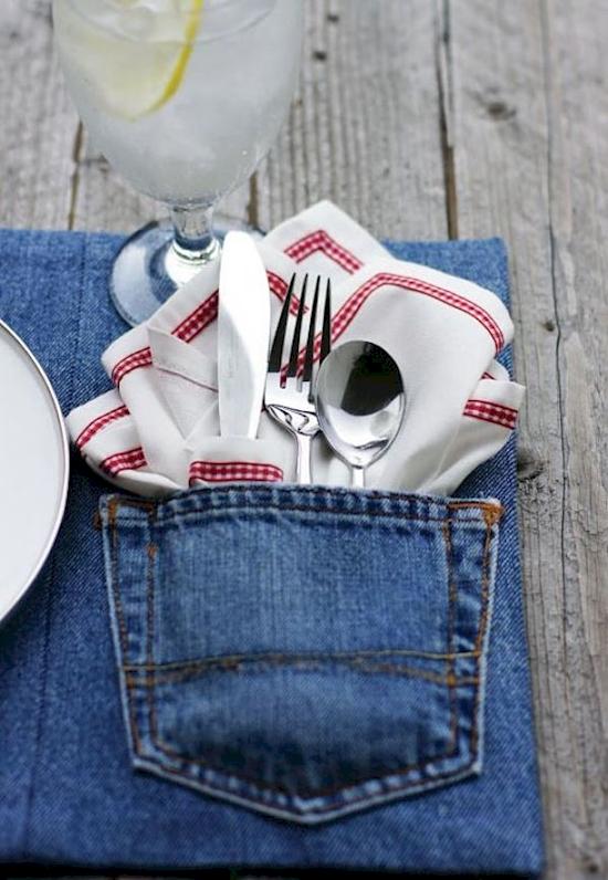 Individuales hechos de jeans