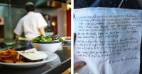 Fue a comer a un restaurante con sus tres hijos y cuando pidió la cuenta le entregaron esta nota