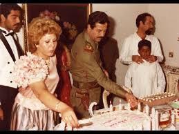 Sajida Talfah y Saddam Hussein en un cumpleaños