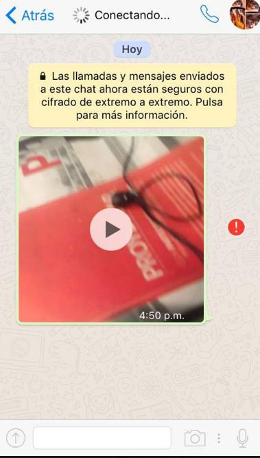 Error al enviar video en WhatsApp