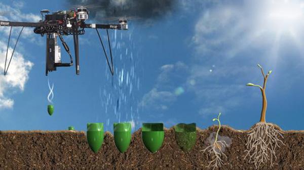 Recreación del dron lanzando las semillas