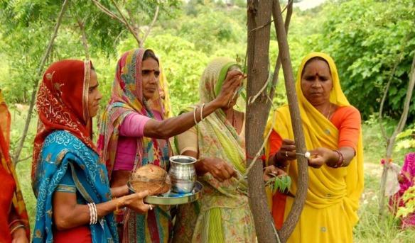 Mujeres indias venerando un árbol