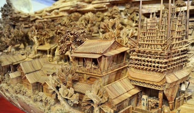 Pagodas en el tallado