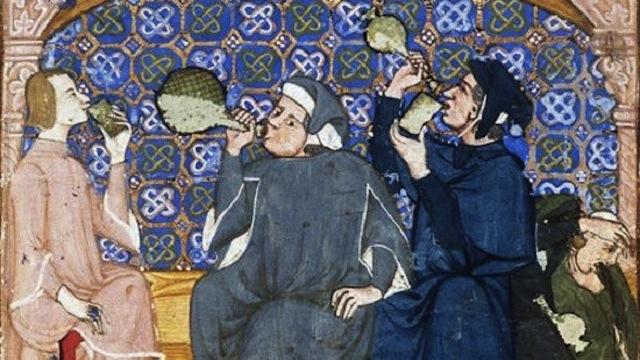 Pintura de personas bebiendo