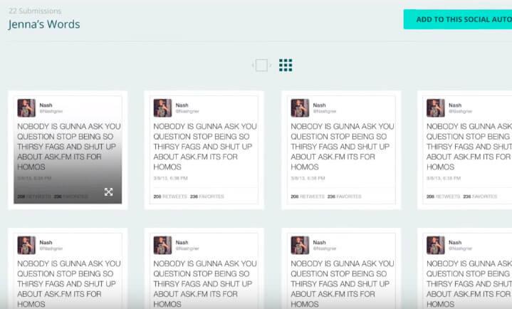 Perfil con mensajes en Social Autopsy