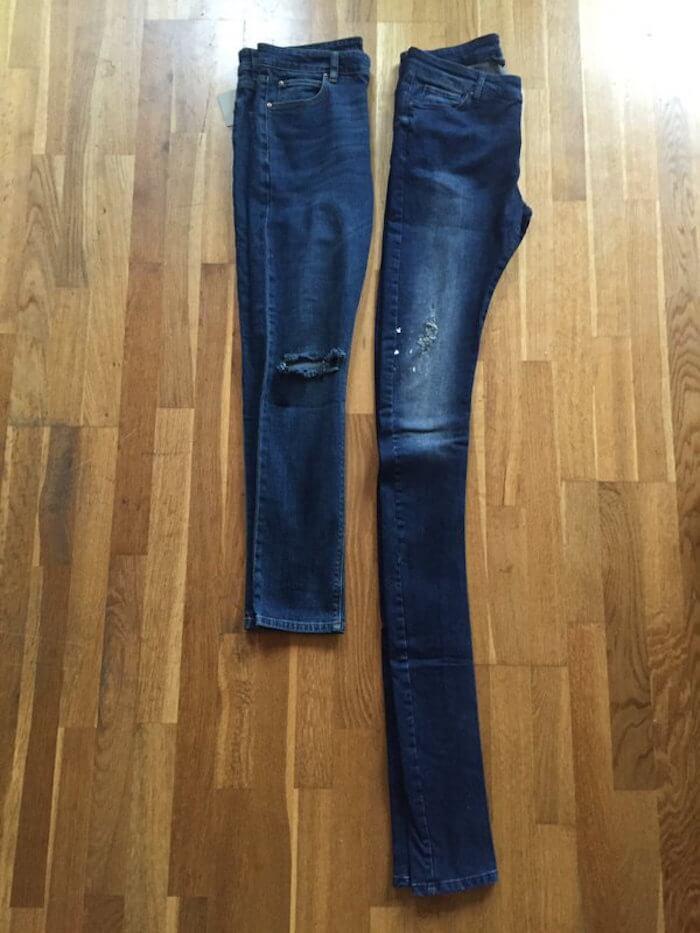 Comparación de dos pantalones talla 32