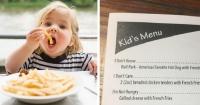 Un restaurante decidió poner un extraño menú para niños y los padres están felices