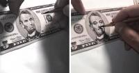 En menos de dos minutos verás cómo transforma un billete de 5 dólares en Bill Murray