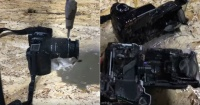 La impresionante fuerza del agua a presión: corta por la mitad una cámara fotográfica