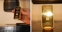 Esto pasa cuando pones una barra de oro de 24 quilates en una prensa hidráulica