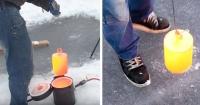Esto ocurre cuando pones un cilindro de acero de 20 kilos al rojo vivo sobre un lago congelado
