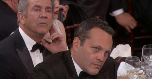 La incómoda reacción de Mel Gibson y Vince Vaughn en medio del discurso de Meryl Streep contra Trump