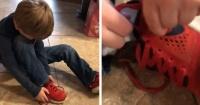 El ingenioso truco de un niño de cinco años para atarse las zapatillas que la rompe en Internet