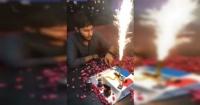 Joven sopló la vela de su pastel de cumpleaños y terminó envuelto en llamas