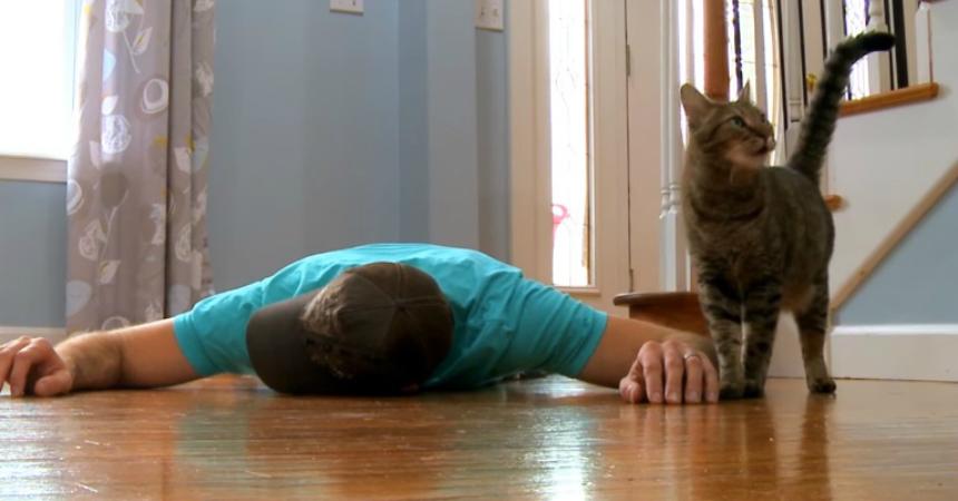 Fingió estar muerto frente a su gato para ver qué hacía y se llevó ... a8495c11c0af