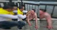 La arriesgada maniobra de unos colombianos para salvar a un ruso de morir ahogado