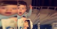 """La """"fantasmal"""" reacción de un bebé al mirar la foto de su padre fallecido"""