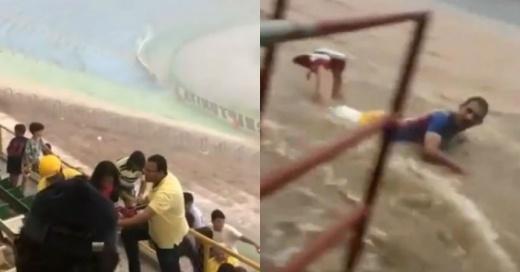 Torrencial lluvia de 30 minutos inundó un estadio en Brasil